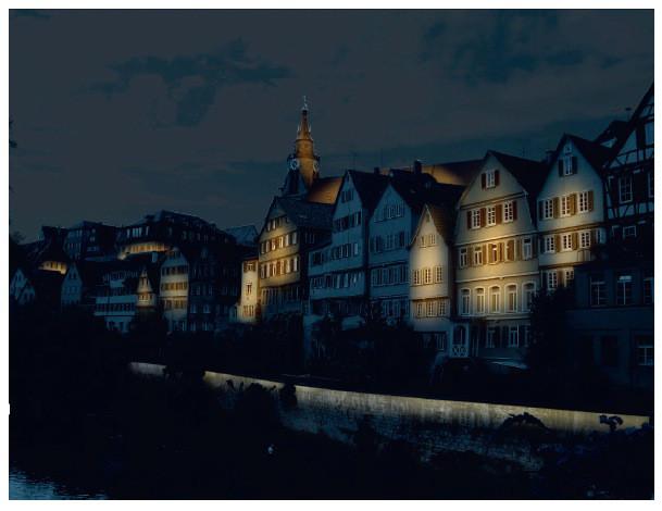 Lichtinstallation Neckarfront Tübingen